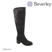 Embroidered cowhide leather black women boot, winter fur boot
