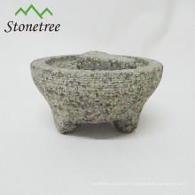 mortar and pestle with 3 legs granite molcajete
