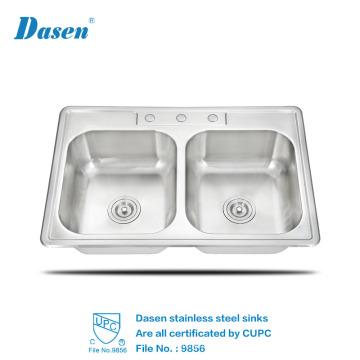 Lavabo del fregadero de la cocina del acero inoxidable del Undermount de la alta calidad del lavabo de la mano doble portable del lavabo