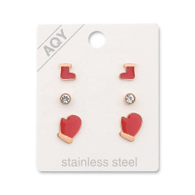 Wholesales 3 set  Enamel Christmas Red Shoes  Glove Crystal  Stainless Steel Studs Earring Jewelry