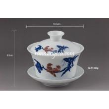 """Pato Mandarín"" Tazas de té de cerámica fina Gaiwan"