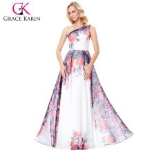 Grace Karin One Shoulder Chiffon Flower Pattern Long Prom Party Dress 7 Size US 4~16 GK000134-1