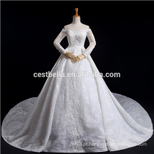 Luxo Plus Size Long Sleeve fora do ombro Vestido de noiva de renda