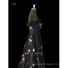 2016 Hot Factory Price Black Sleeveless Long Ball Gown Evening Party Dresses