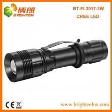 Factory Vente 3.7V Multi-fonctionnel tactile haute puissance en aluminium XPE 3W Cree led rechargeable lampe de poche avec fonction de zoom