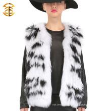 Nueva Moda Blanco y Negro Forma Handmake Mujer Raccoon abrigo de piel Cintura