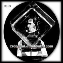 K9 3D Laser Monkey Inside Crystal Cube