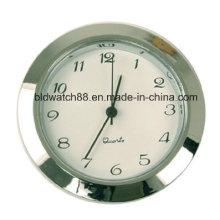 Movimento de quartzo inserir relógio de tom de prata redonda com números