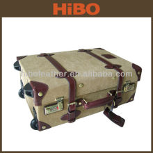 Canvas and leather trolley travel luggage