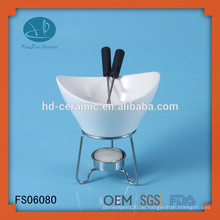 Spezieller Porzellan-Fondue-Wärmer mit Standfuß, Fondue-Set mit Metallständer
