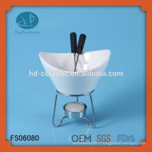 Réchauffeur de fondue en porcelaine spécial avec support, ensemble fondue fournisseur avec support en métal