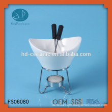 special porcelain fondue warmer with stand,supplier fondue set with metal stand