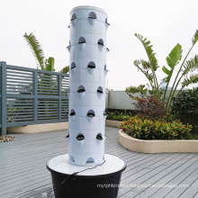 Space Saving Hydroponic Tower System for Strawberry Growing