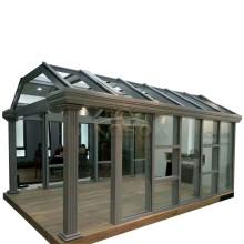 Varanda de vidro porta deslizante sala marquise telhado