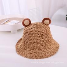 Fashion Beach Sun Hats For Kids Children Lovely Wide Brim Cartoon Cat Ear Straw Hat Boys Girls Summer Cap Sombrero
