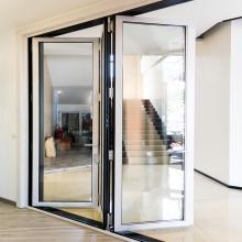 Алюминиевая дверная рама с двойной стеклянной складной дверью