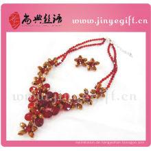 Modeschmuck Kristall Zirkon Blume Luxus Ruby Halskette Sets Indian