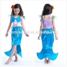 Vestido hecho a medida de la sirena traje de cosplay traje de fiesta de color azul princesa vestido de niñas para niñas