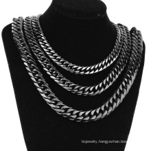 9/11/13/16/19/21mm Stainless Steel Jewelry Black Double Woven Necklace Thick European Style
