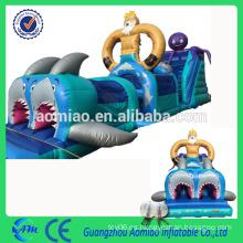 Circuito de obstáculos de agua inflable de Seaworld tamaño personalizado cancha de obstáculos inflable barata