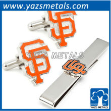 San Francisco giants mancuernas y juego de regalo de la barra de corbata, hecho a medida clip de lazo de metal con diseño