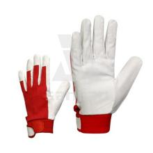 Gant de cuir blanc et rouge en cuir