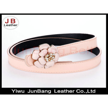 Metal Flower Buckle Polyester Elastic Belt for Ladies