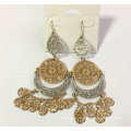 Multilayer Lace Metal Earrings with Tassels