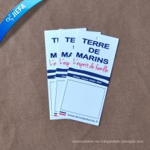 Precio de fábrica de diseño de etiquetas de papel de cartón / etiquetas de etiquetas de impresión