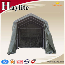 Shade net motorcycle carport with rubber flooring cover