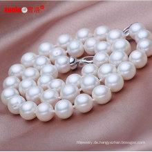 9-10mm AA Perfekte runde China Pure Süßwasser Perle Halskette