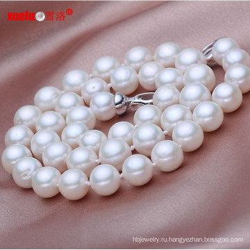 9-10мм AA Perfect Круглый Китай Чисто пресноводное жемчужное ожерелье