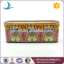 YSfp0008 Maceta de cerámica rectangular de la venta caliente con diseño del handprint