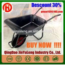 WB6414t power solid wheel metal tray rollkarren für Europa Südostasien Australien markt Gartenarbeit beton