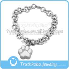 Acier inoxydable 316L avec empreinte de patte pour garder les cendres de votre chien dans le bracelet