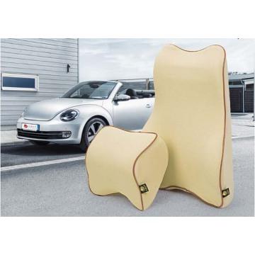 Reposacabezas de coche y almohada espalda cuello apoyo, soporte de cintura-Beige