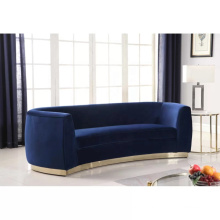 European style luxury popular lounge blue velvet sofa with metal frame living room furniture set