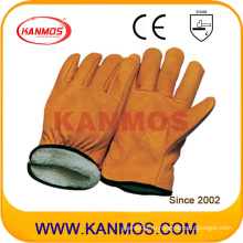 Кожа натуральной кожи Полная подкладка Зимняя промышленная безопасность Водитель кожаная рабочая перчатка (12306)