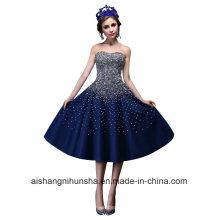 Vestido de fiesta de baile una línea de longitud sin mangas rebordear cristal