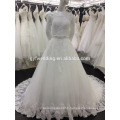 Real Samples Ball Gown Off-Shoulder 3/4 Sleeves Beading Waist Lace Appliqued Ivory Plus Size Muslim Wedding Dress A090