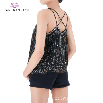 Party Schwarz Pailletten Tanktops