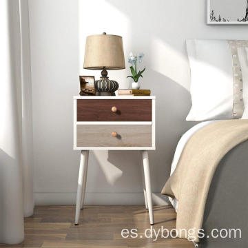 Side End Table Nightstand Bedroom Table wood cabinet with 2 Drawers