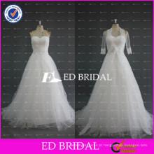 ED Bridal A Line White Tulle Strapless sem mangas Andar Comprimento vestidos de noiva