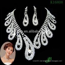 Dreiteilige Zircon Hochzeit Halskette Rhinestone Kristall Halskette