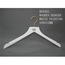 Hh Brand High Quality White Clothes Top Hanger for Coat Suit with Brass Hook