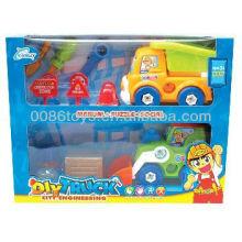 2013 novedad divertida ingeniero de dibujos animados coche conjunto DIY juguetes