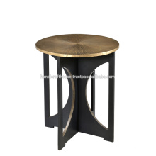 Parte superior redonda plateada latón industrial con la mesa de centro de la base del metal