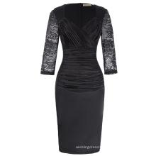 Kate Kasin Womens Deep-V Neck Ruffles Floral Lace Fitted Retro Black Evening Pencil Dress KK001000-1