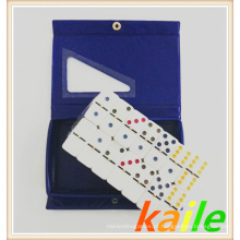Duplo seis dominó colorido em caixa de PVC