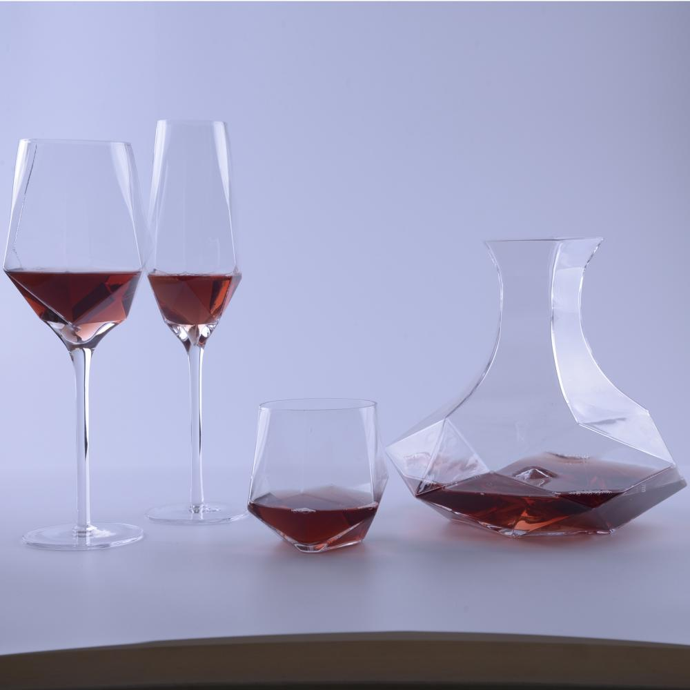 unique Shape Geo Whiskey Glass Cup Geo Glass Tumbler SET